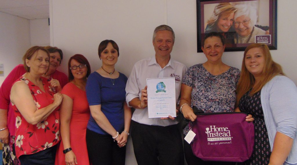 Home Instead Cardiff celebrate their home care top 10 award.