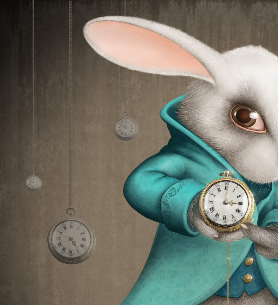 White Elegances rabbit indicates the clock - illustration