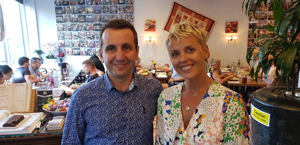 Jennifer Hobbs-Roberts and Mehmet at Keyif