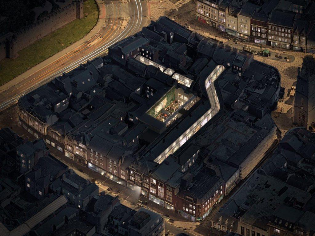 0386 Cardiff High Street Arcade Aerial City Life Cardiff